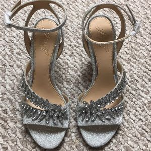 Silver sparkle heels with jewels